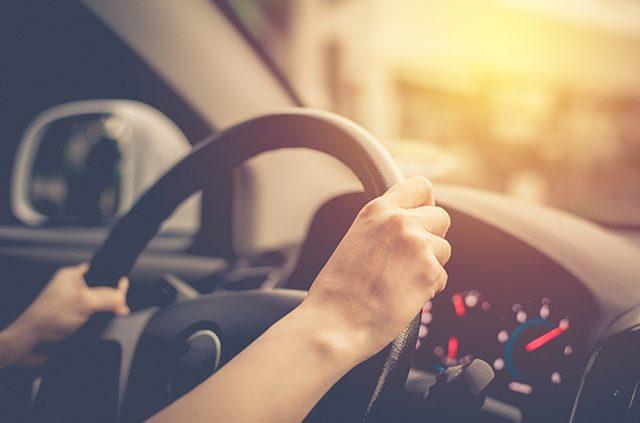 Hands on steering wheel driving